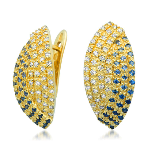 14K Gold over 875 Silver Earrings with Blue Sapphire, White CZ