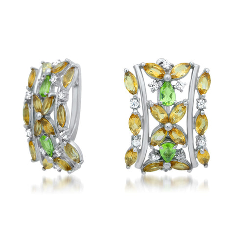 875 Silver Earrings with Yellow Citrine, Peridot