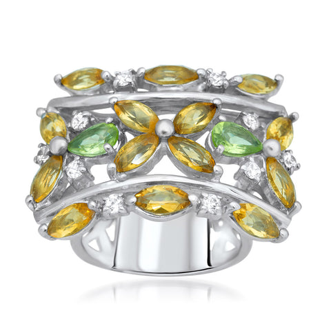 875 Silver Ring with Yellow Citrine, Peridot