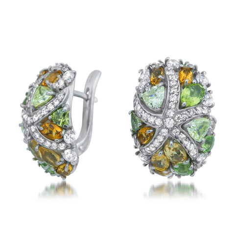 875 Silver Earrings with Cognac Citrine, Yellow Citrine, Peridot