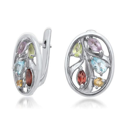 875 Silver Earrings with Amethyst, Yellow Citrine, Garnet, Peridot, Blue Topaz