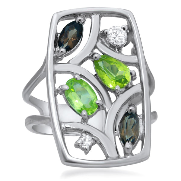 875 Silver Ring with Peridot, Smoky Quartz