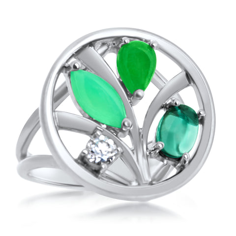 875 Silver Ring with Chrysoprase, Green Jade, Prasiolite