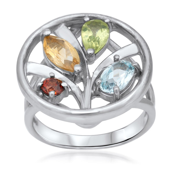 875 Silver Ring with Yellow Citrine, Garnet, Peridot, Blue Topaz