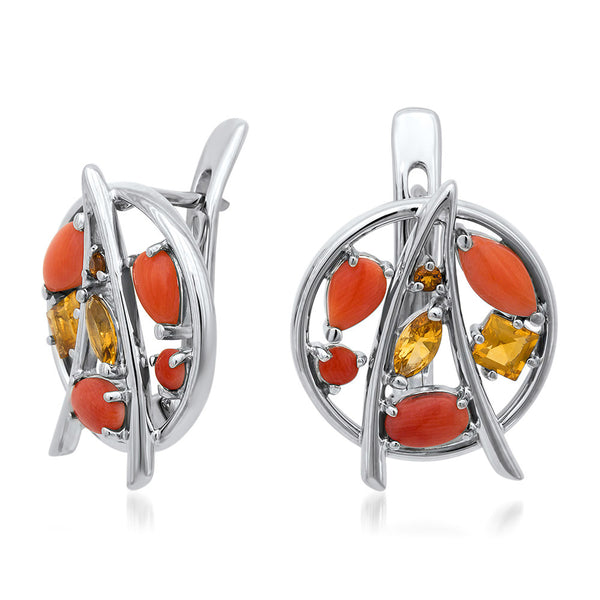 875 Silver Earrings with Coral, Madeira Citrine