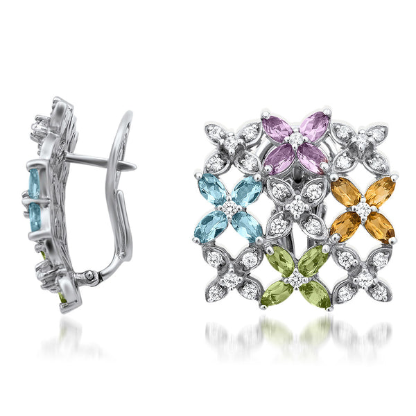 875 Silver Earrings with Amethyst, Yellow Citrine, Peridot, Blue Topaz
