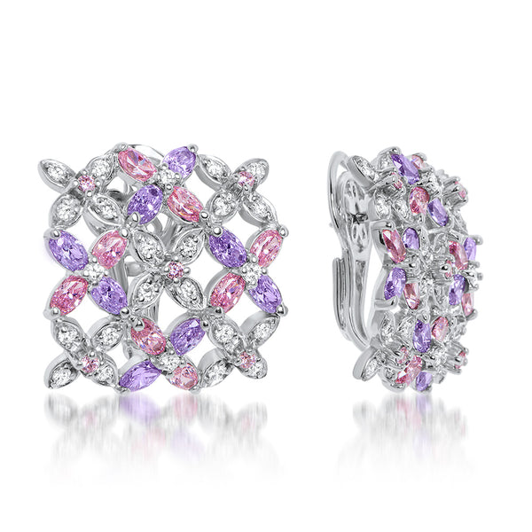 875 Silver Earrings with Pink CZ, Purple CZ, White CZ