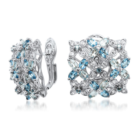 875 Silver Earrings with Blue Topaz, White CZ