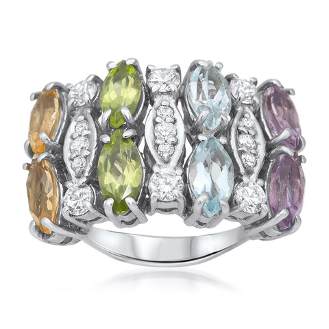 875 Silver Ring with Amethyst, Yellow Citrine, Peridot, Blue Topaz