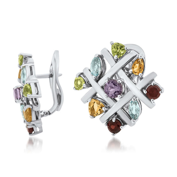 925 Silver Earrings with Amethyst, Yellow Citrine, Garnet, Peridot, Blue Topaz