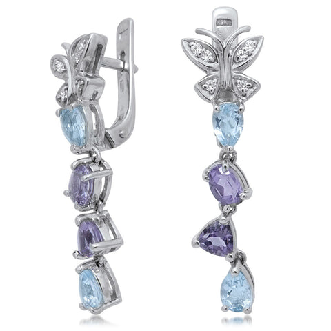 875 Silver Earrings with Amethyst, Blue Topaz
