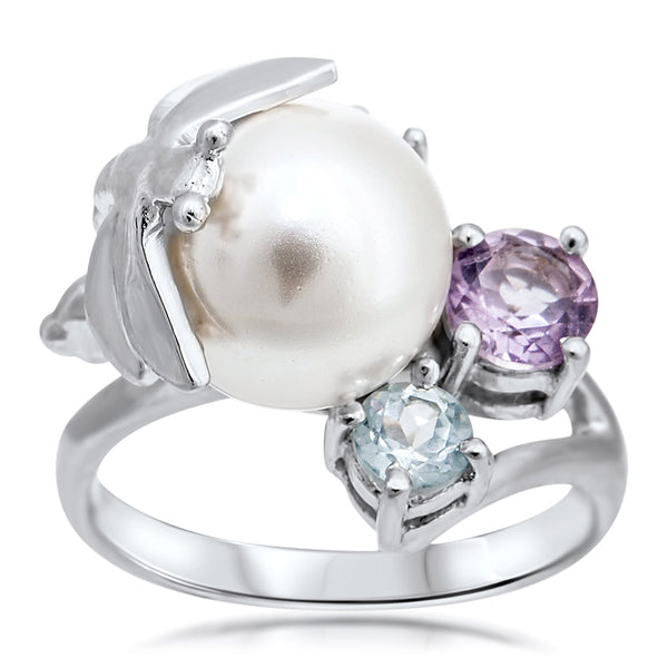 875 Silver Ring with White Shell Pearl