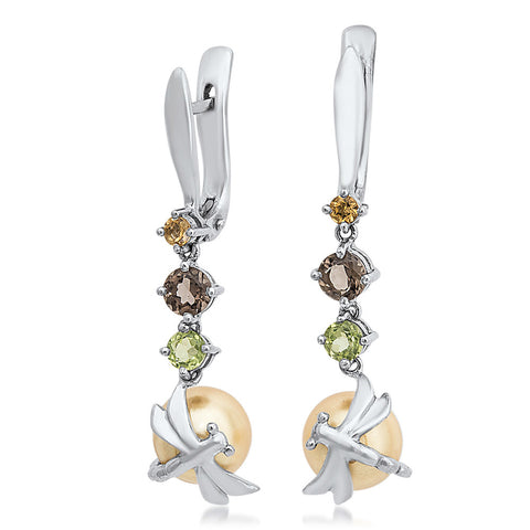875 Silver Earrings with Yellow Shell Pearl, Yellow Citrine