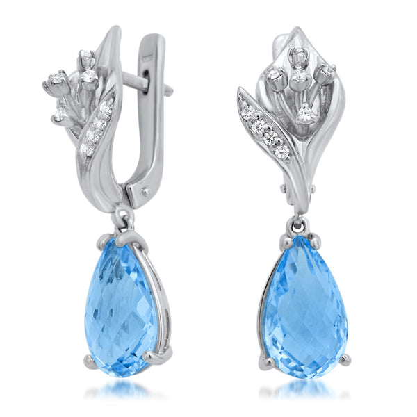 875 Silver Earrings with Blue Topaz