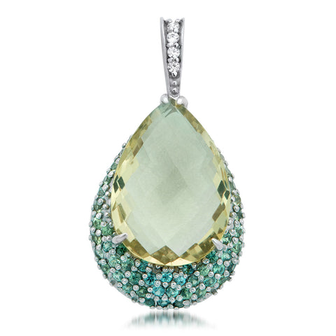 875 Silver Pendant with Green Citrine