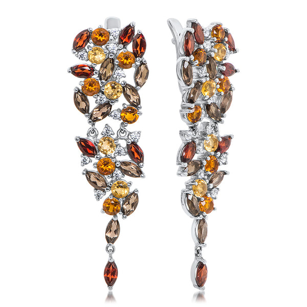 875 Silver Earrings with Garnet, Smoky Quartz, Cognac Citrine, Yellow Citrine