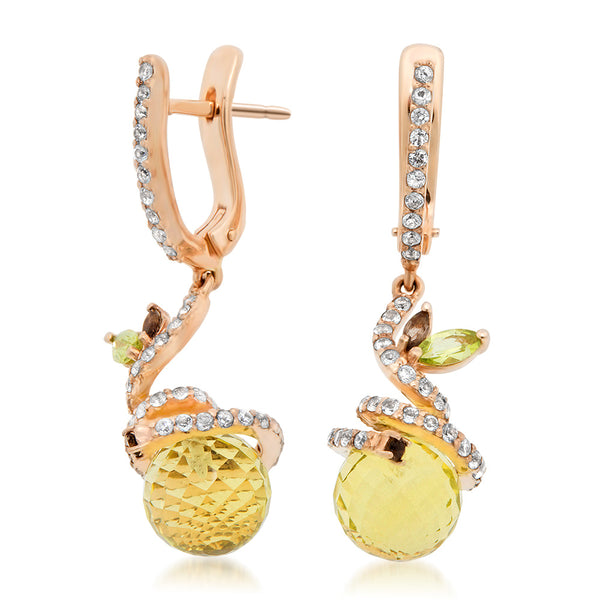 14K Pink Gold Earrings with Yellow Citrine, Smoky Quartz, Peridot