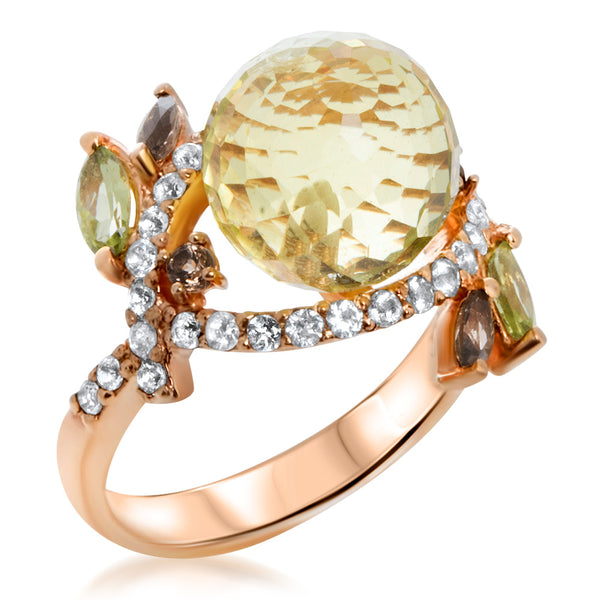 14K Pink Gold Ring with Yellow Citrine, Smoky Quartz, Peridot