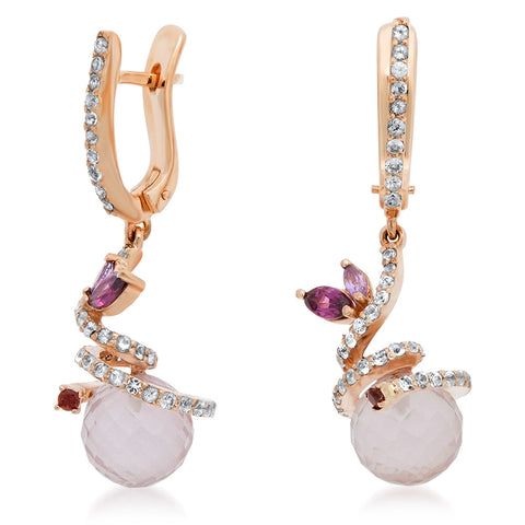 14K Pink Gold Earrings with Pink Quartz, Amethyst, Garnet