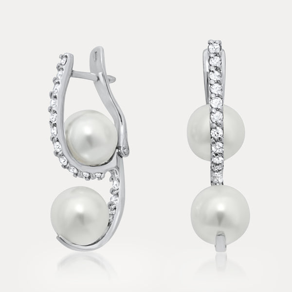 925 Silver Earrings with White Shell Pearl