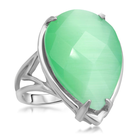 875 Silver Ring with Green Ulexite