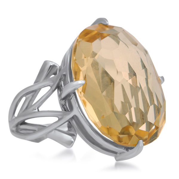 875 Silver Ring with Yellow Citrine