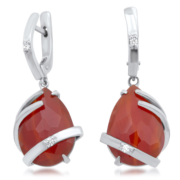875 Silver Earrings with Carnelian