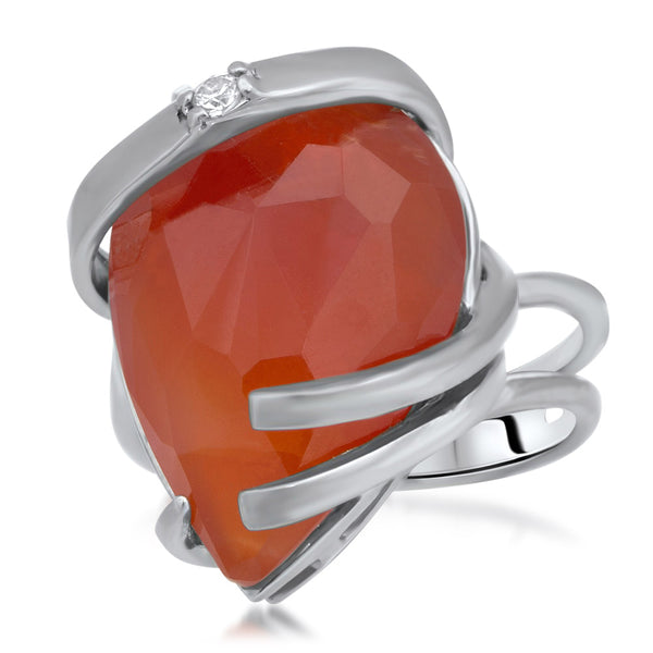 875 Silver Ring with Carnelian
