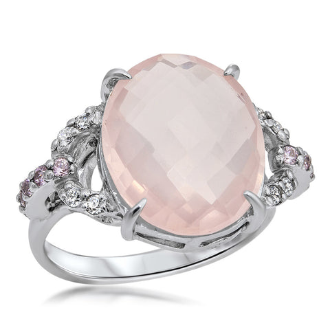 875 Silver Ring with Pink Quartz