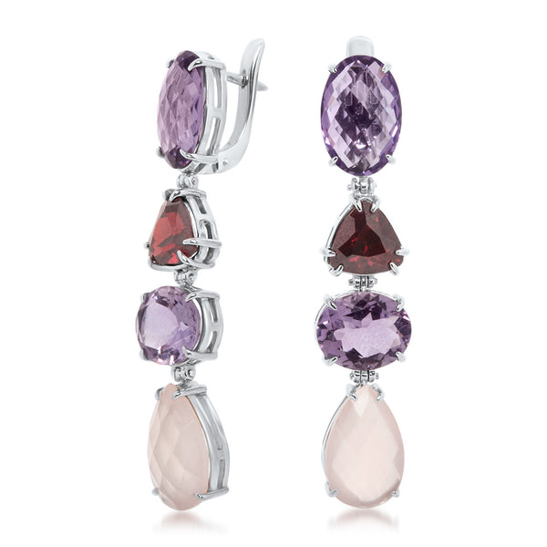 925 Silver Earrings with Amethyst, Garnet, Pink Quartz