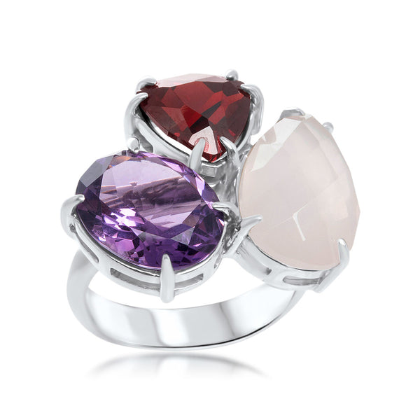 925 Silver Ring with Amethyst, Garnet, Pink Quartz