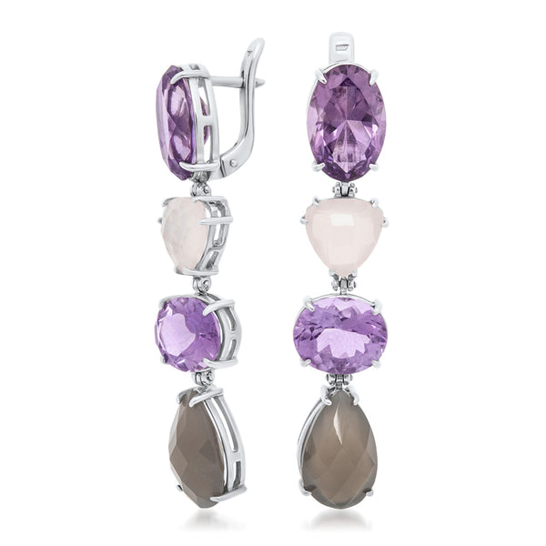 875 Silver Earrings with Gray Moonstone, Amethyst, Pink Quartz