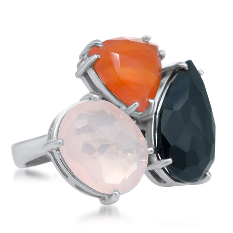 875 Silver Ring with Onyx, Pink Quartz, Carnelian