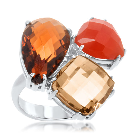 875 Silver Ring with Carnelian, Yellow Citrine, Cognac Citrine