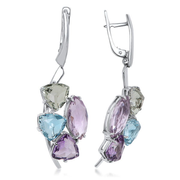 925 Silver Earrings with Amethyst, Prasiolite, Blue Topaz