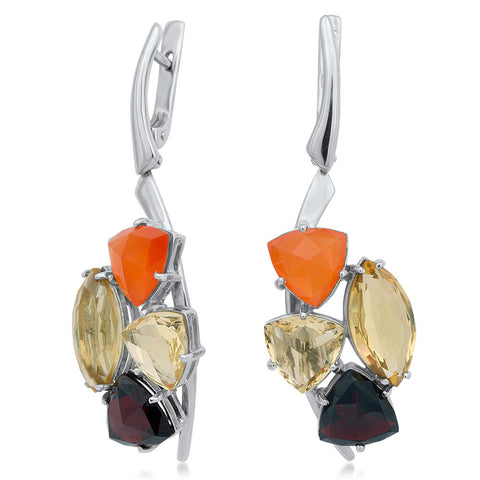 875 Silver Earrings with Carnelian, Yellow Citrine, Garnet