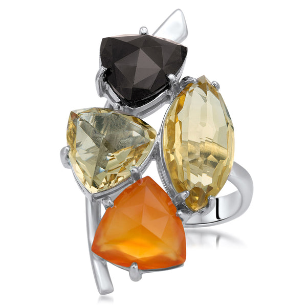 875 Silver Ring with Carnelian, Yellow Citrine, Garnet