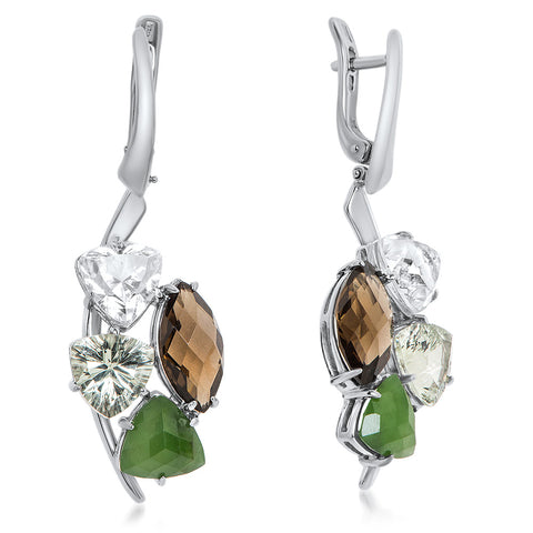 875 Silver Earrings with Nephrite, Rock Crystal, Smoky Quartz, Prasiolite