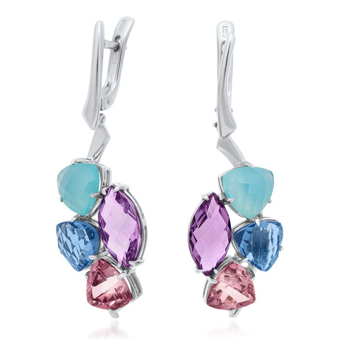 875 Silver Earrings with Pink Topaz, Amethyst, Blue Agate, Blue Quartz