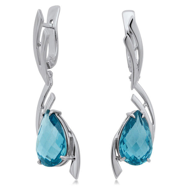 875 Silver Earrings with Blue Quartz