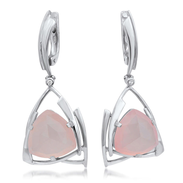 875 Silver Earrings with Pink Quartz
