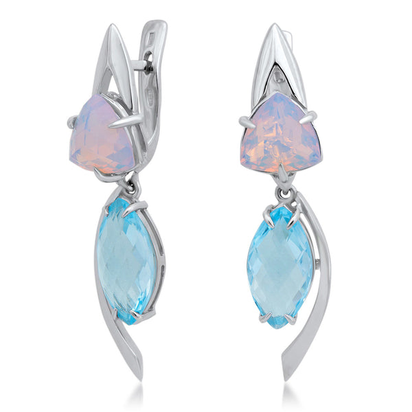 875 Silver Earrings with Fire Opal, Blue Topaz