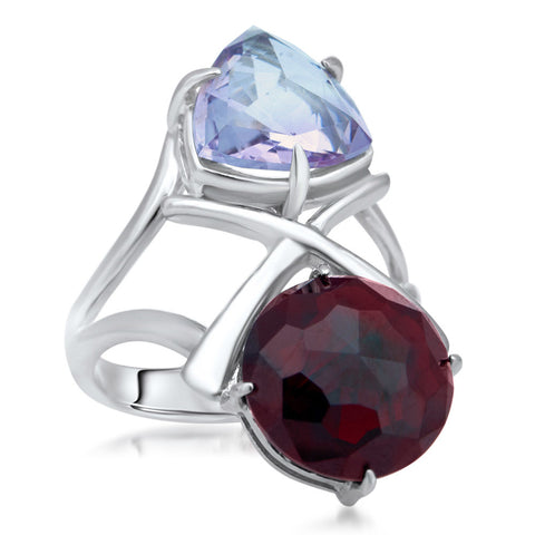 875 Silver Ring with Garnet, Amethyst