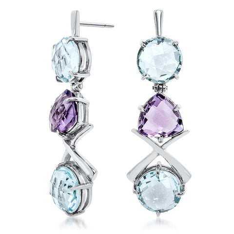 875 Silver Earrings with Blue Topaz, Amethyst