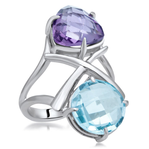 875 Silver Ring with Amethyst, Blue Topaz