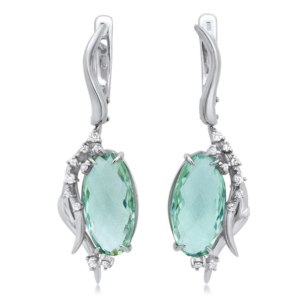 875 Silver Earrings with Prasiolite
