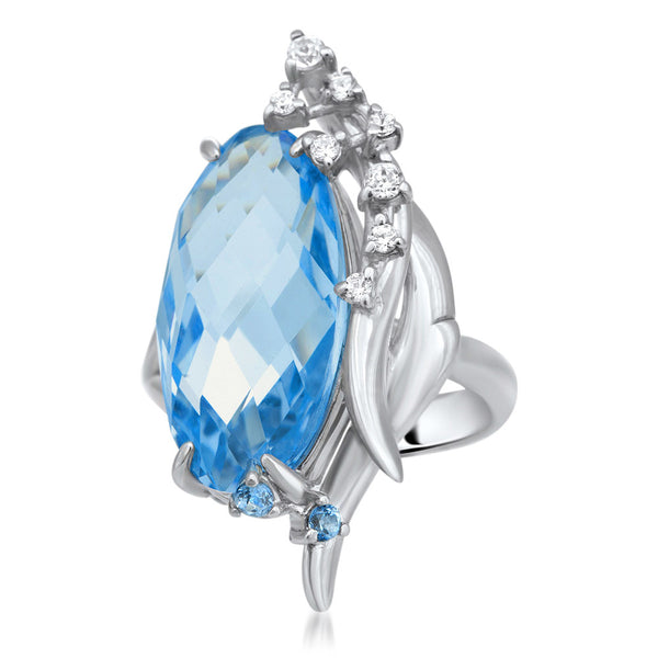 875 Silver Ring with Blue Quartz