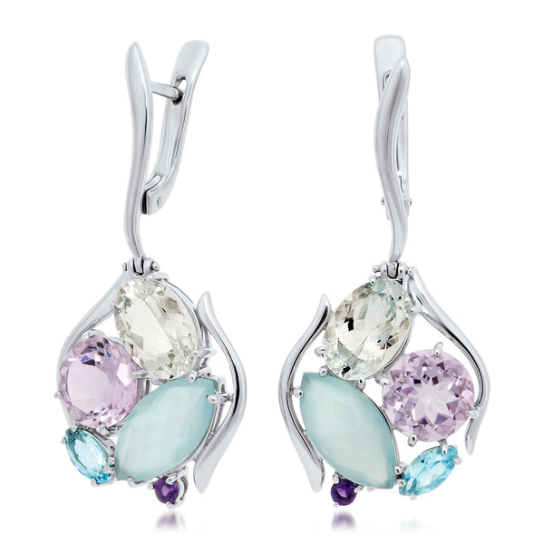 875 Silver Earrings with Blue Agate, Amethyst, Rock Crystal, Blue Topaz