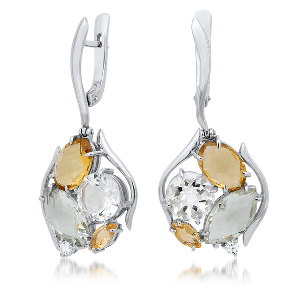 875 Silver Earrings with Yellow Citrine, Prasiolite, Rock Crystal