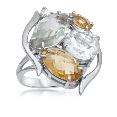 875 Silver Ring with Yellow Citrine, Prasiolite, Rock Crystal